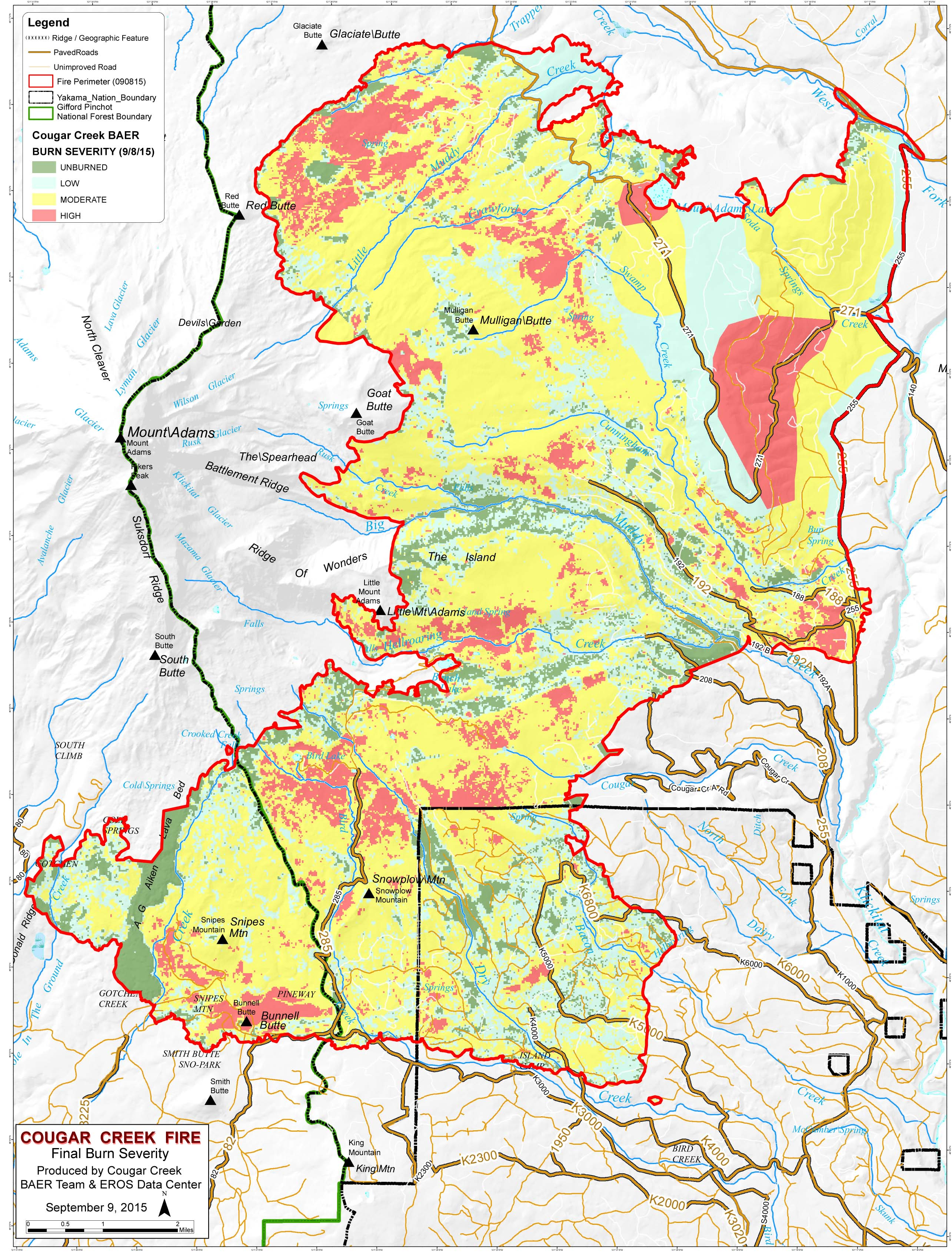 Cougar Creek Fire Burn Severity Maps | Friends of Mount Adams